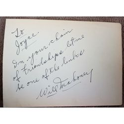 Will Mahoney, 1894-1967 Autograph, Actor & Theatre Manager Autograph