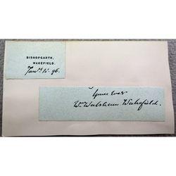 William Walsham How, Bishop of Wakefield, 1896 Letter Clip