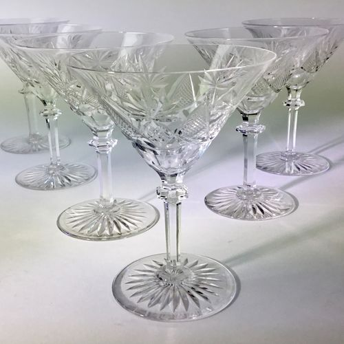 Spectacular Val Saint Lambert crystal Martini glasses