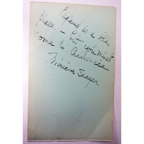 "Miriam Seegar Actress Autograph ""you must come to America"" + another"