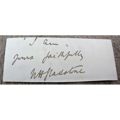 William Henry Gladstone Signed Letter Clip