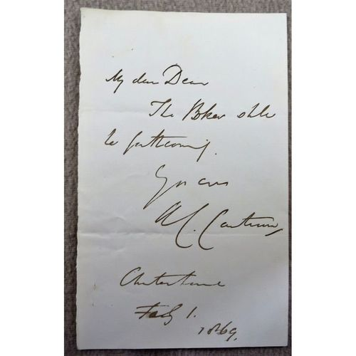 Archibald Campbell Tait Archbishop of Canterbury 1869 Letter