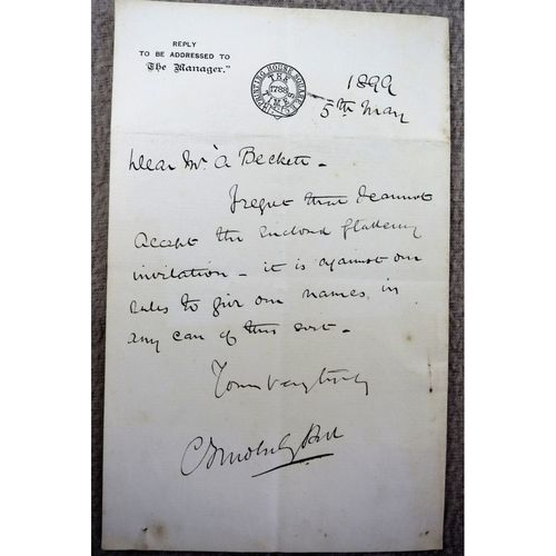 Charles Frederick Moberley Bell, Journalist/Editor signed 1899 letter