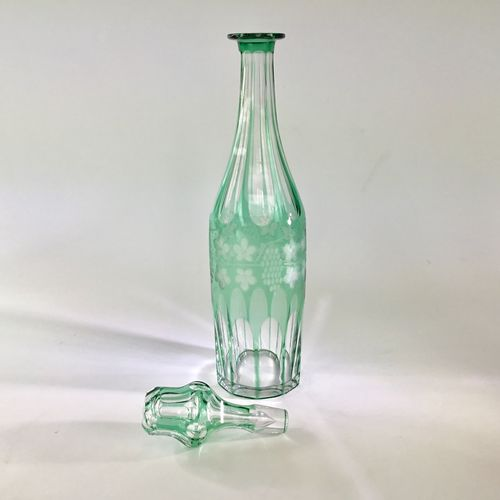 19th Century overlay cut to clear glass decanter