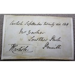 Henry Montagu Villiers Bishop of Carlisle Signed 1858 Envelope clip