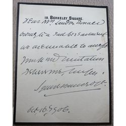 Sir Squire Bancroft Actor manager signed 1906 letter