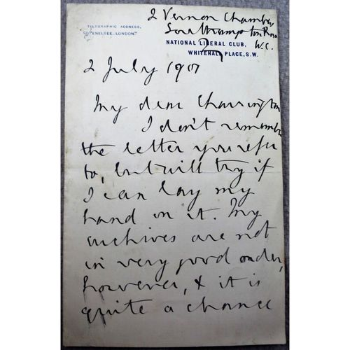 William Archer, Scottish Writer and Critic, Signed 1901 letter