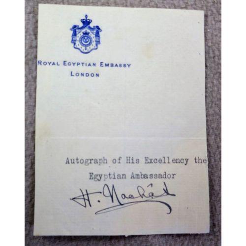 Hassan Pasha Nashat Egyptian Ambassador to UK Autograph (1938-1944)