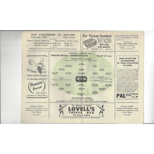 1949/50 Charlton Athletic v Manchester United Football Programme