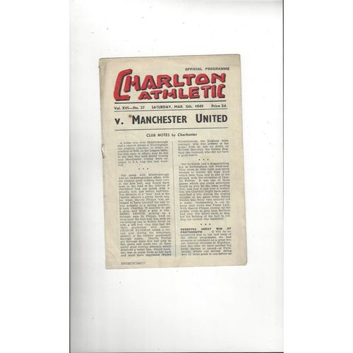1949/50 Charlton Athletic v Manchester United Football Programme