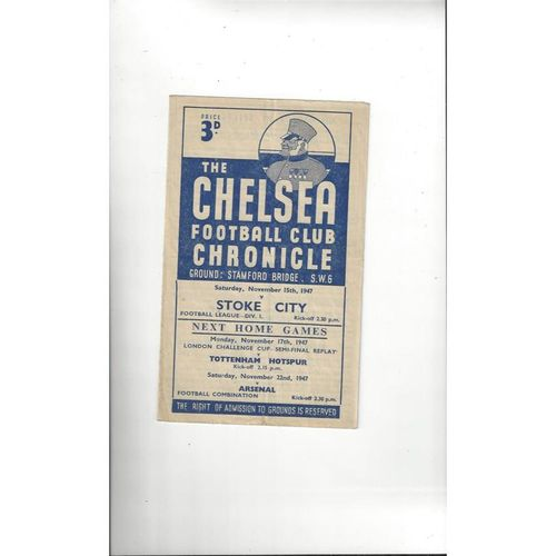 1947/48 Chelsea v Stoke City Football Programme