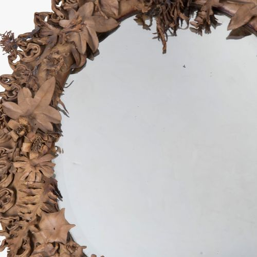 Superb leather worked 19th Century mirror