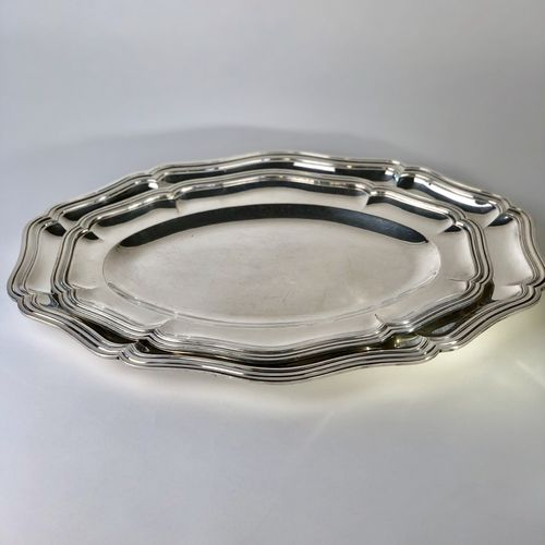 Excellent pair of Antique silver plated platters