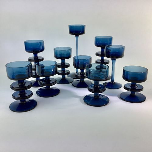 Large set of 1970s Wedgwood glass candlesticks