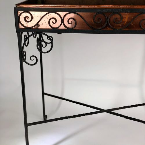 Copper and wrought iron jardinaire planter