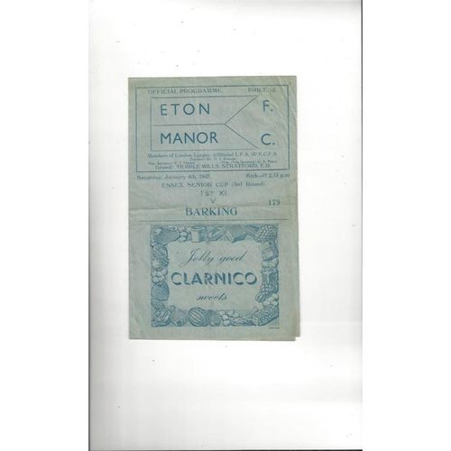 Eton Manor Home Football Programmes