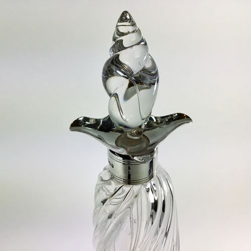 Art Nouveau silver collar twisted glass decanter