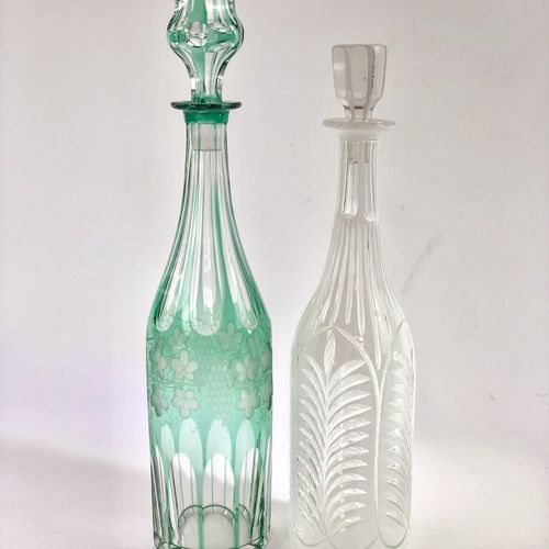 Beautiful tall white cut to clear glass antique decanter