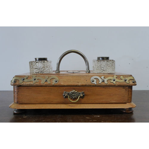 Victorian Antique Oak Inkwell with Drawer - £185