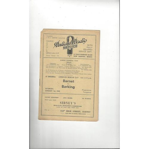 1948/49 Barnet v Barking London Senior Cup Football Programme