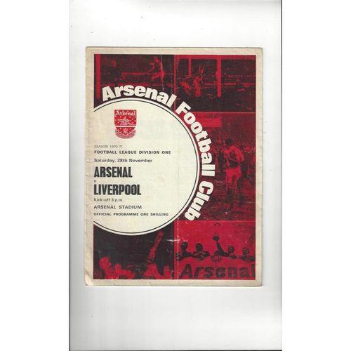 1970/71 Arsenal v Liverpool Football Programme