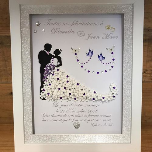 wedding personalised gift frame 3d