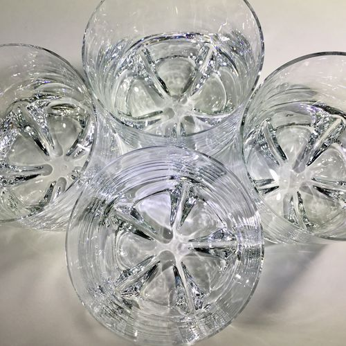Four chunky Mid Century crystal tumblers