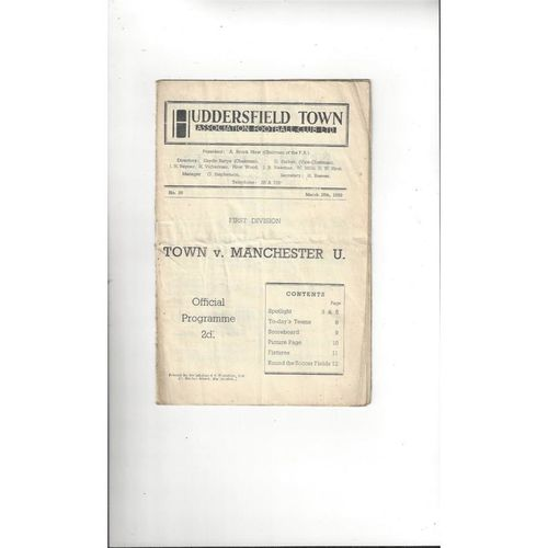 1949/50 Huddersfield Town v Manchester United Football Programme