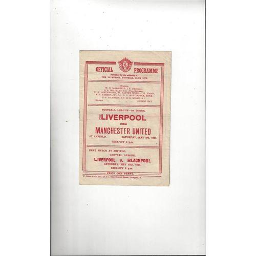 1946/47 Liverpool v Manchester United Football Programme