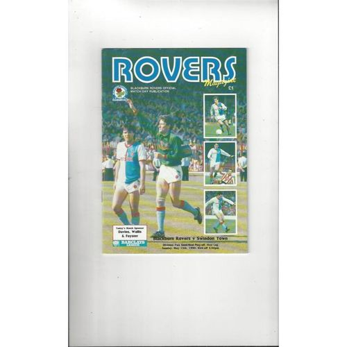 Blackburn Rovers v Swindon Town Play Off Football Programme 1989/90