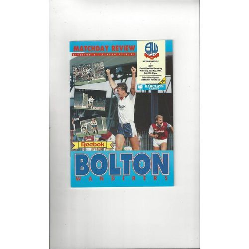 Bolton Wanderers v Bury Play Off Football Programme 1990/91