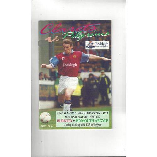 Burnley v Plymouth Argyle Play Off Football Programme 1993/94