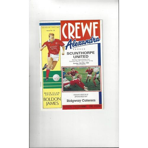 Crewe Alexandra v Scunthorpe United Play Off Football Programme 1991/92