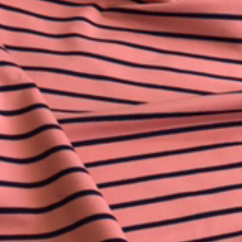 Navy On Pink Striped Looped Back Jersey