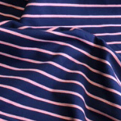 Pink On Navy Striped Looped Back Jersey