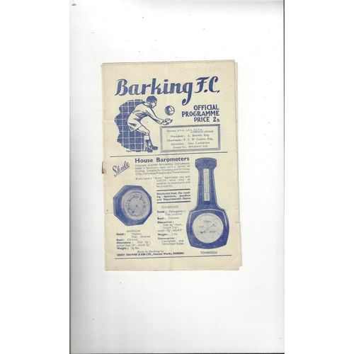 1948/49 Barking v Bromley Football Programme
