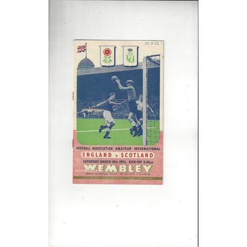 1952 England v Scotland Amateur International Football Programme