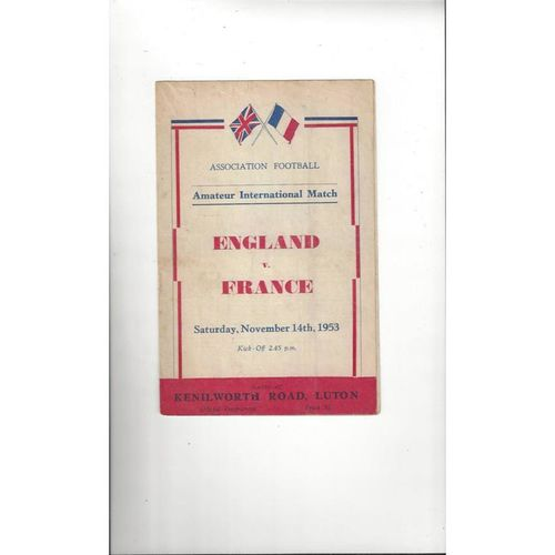 1953 England v France Amateur International Football Programme