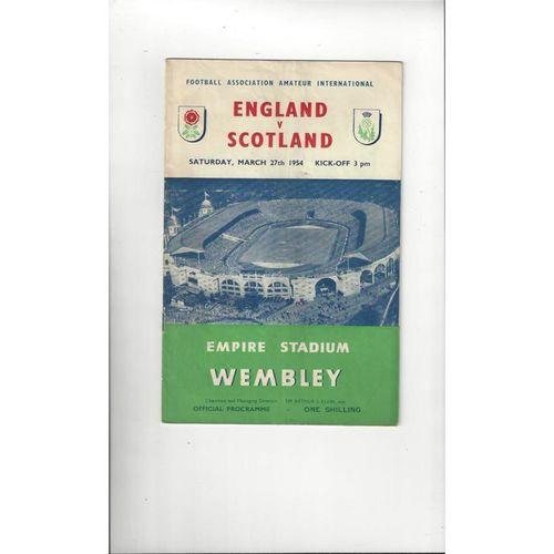 1954 England v Scotland Amateur International Football Programme