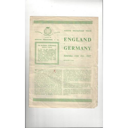 1957 England v Germany Amateur International Football Programme