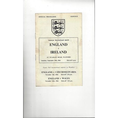 1966 England v Ireland Amateur International Football Programme