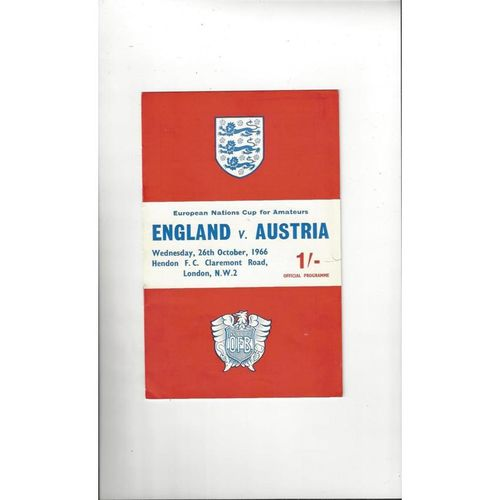 1966 England v Austria Amateur International Football Programme