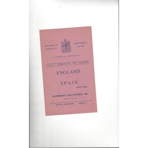 1969 England v Spain Amateur International Football Programme