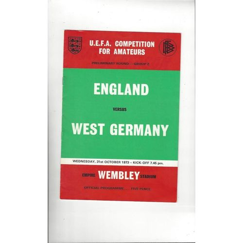 1973 England v West Germany Amateur International Football Programme