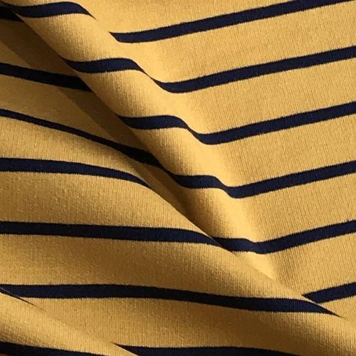Navy Stripes Mustard Looped Back Jersey