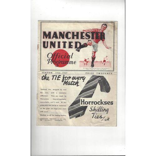 1936/37 Manchester United v Arsenal Football Programme