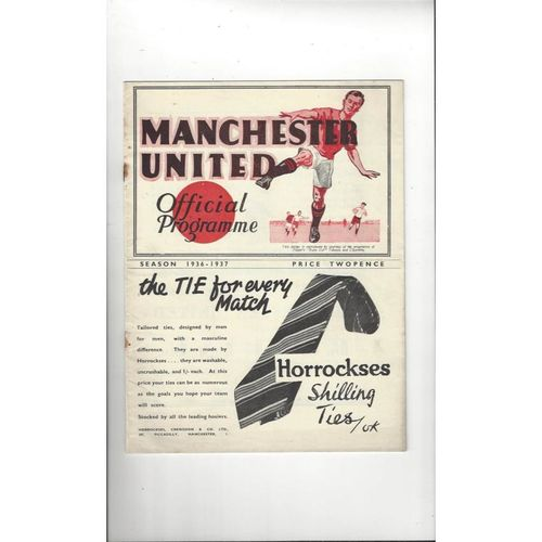 1936/37 Manchester United v Derby County Football Programme