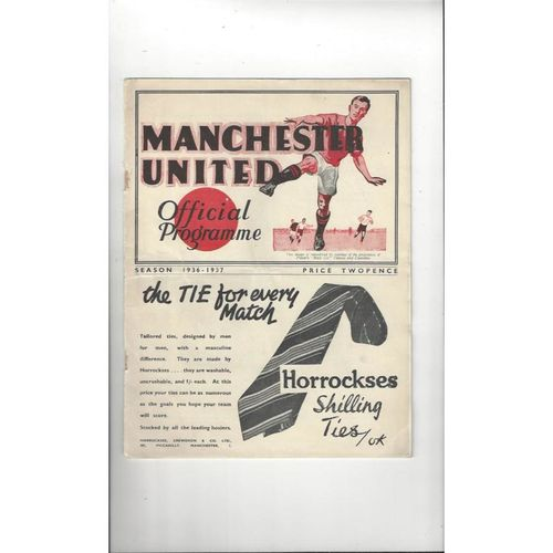 1936/37 Manchester United v Middlesbrough Football Programme
