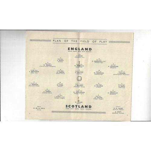 1947 England v Scotland Football Programme
