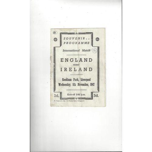 1947 England v Ireland Football Programme @ Everton. Autographed